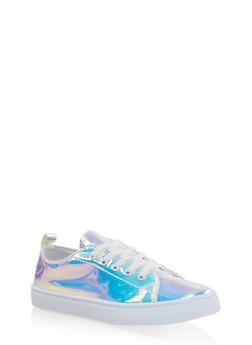 Girls 12-4 Iridescent Lace Up Sneakers - 3736062720016