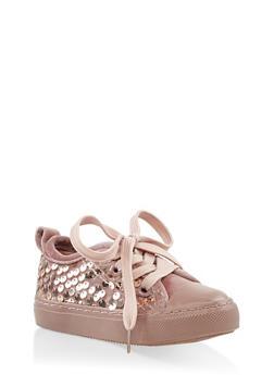 Girls 6-11 Velvet Sequin Lace Up Sneakers - 3736062720040