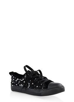 Girls 12-4 Velvet Sequin Lace Up Sneakers - 3736062720052