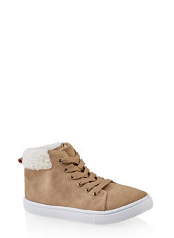 Girls 12-4 Sherpa Cuff Sneakers - 3736062720071