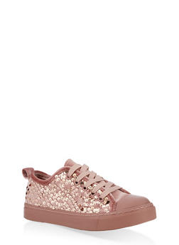 Girls 12-4 Velvet Sequin Lace Up Sneakers - 3736062720077