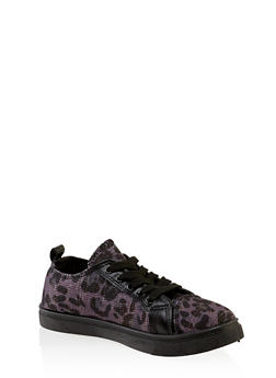 Girls 12-4 Canvas Animal Print Sneakers - 3736062720079