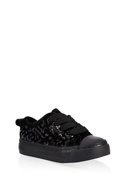 Girls 6-11 Velvet Sequin Lace Up Sneakers - 3736062720087