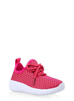 Girls 6-11 Knit Lace Up Athletic Sneakers - 3736062720096