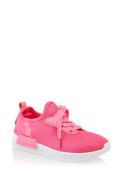 Girls 12-4 Lace Up Athletic Sneakers | Neon Pink - 3736062720098