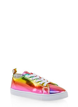 Girls 12-4 Rainbow Lace Up Sneakers - 3736062720100