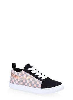 Girls 12-4 Checkered Lace Up Sneakers - 3736062720105