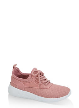 Little Girls Lace Up Solid Sneakers - 3736062720218