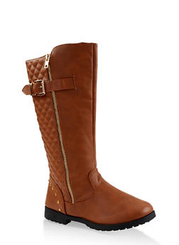 Girls 12-4 Tall Quilted Riding Boots - 3736064790005
