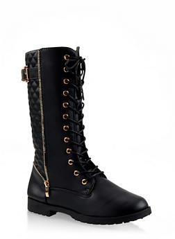 Girls 11-4 Tall Quilted Combat Boots - 3736064790009