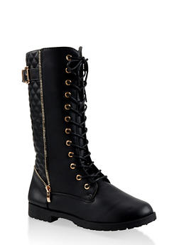 Girls 12-4 Tall Quilted Combat Boots - 3736064790010