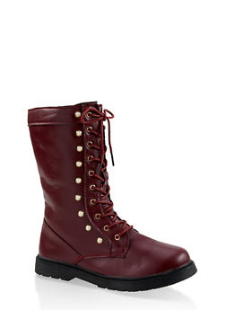 Girls 11-4 Faux Pearl Studded Combat Boots - 3736064790016