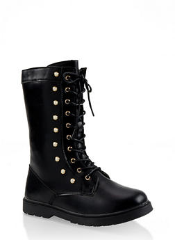 Girls 11-4 Tall Faux Pearl Studded Combat Boots - 3736064790017