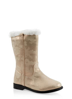 Girls 12-4 Faux Fur Trim Boots - 3736064790019
