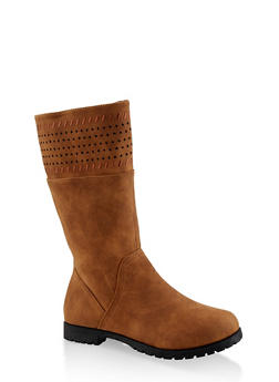 Girls 12-4 Faux Suede Laser Cut Boots - 3736064790020