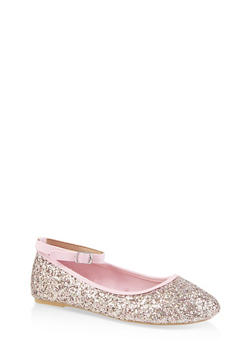 Girls 11-4 Glitter Ankle Strap Flats - 3736064790028