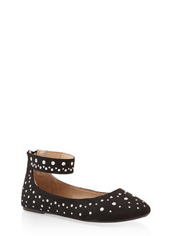 Girls 11-4 Studded Ankle Strap Flats - 3736064790029