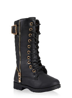 Girls 5-10 Zipper Detail Combat Boots - 3736064790036