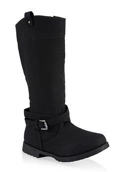 Girls 11-4 Wrapped Buckle Riding Boots - 3736064790038