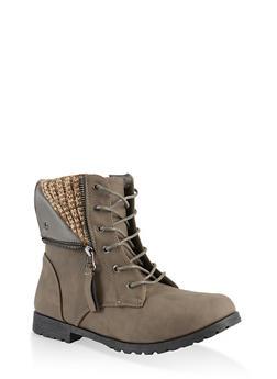 Girls 12-4 Sweater Knit Detail Boots - 3736064790041