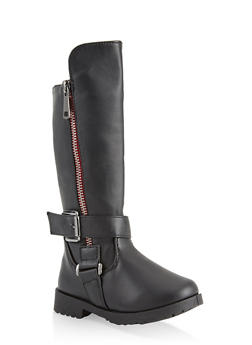 Girls 5-10 Tall Motorcycle Boots - 3736064790046