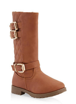Girls 11-4 Tall Quilted Back Boots - 3736064790050