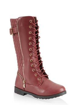 Girls 11-4 Tall Quilted Combat Boots - 3736064790051