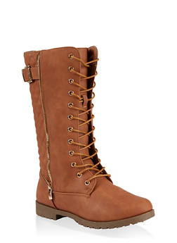 Girls 11-4 Tall Quilted Back Combat Boots - 3736064790052