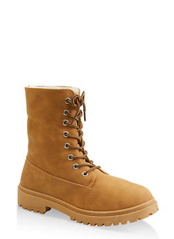 Girls Sherpa Lined Lug Sole Boots - 3736064790120