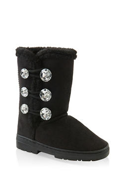 Girls 11-5 Rhinestone Faux Fur Lined Boots - 3736068060090