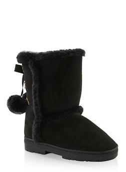 Girls 11-5 Pom Pom Lace Up Boots - 3736068060091