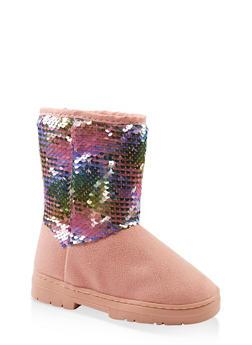 Girls 11-5 Reversible Sequin Boots - 3736068060092