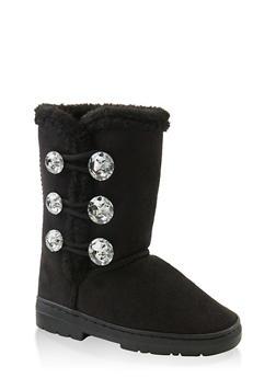 Girls 5-12 Rhinestone Faux Fur Lined Boots - 3736068060097