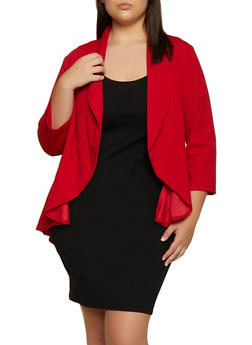 Plus Size Collared Crepe Knit Blazer - 3802020623051