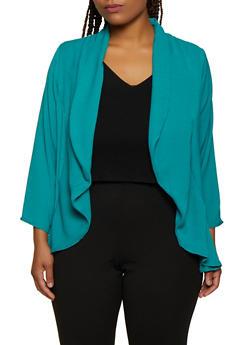 Plus Size High Low Blazer - 3802020623875