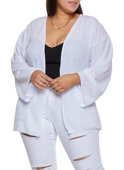 Plus Size Crepe Knit Cardigan - 3802020626175