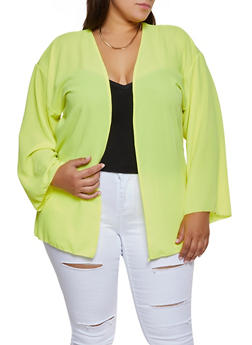 Plus Size Crepe Knit Cardigan - 3802020626175