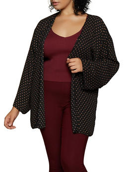 Plus Size Crepe Knit Printed Cardigan - 3802020627185