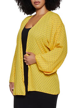 Plus Size Crepe Knit Printed Cardigan - 3802020627185