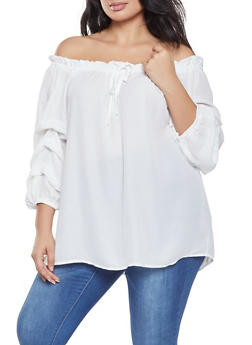Plus Size Bubble Sleeve Off the Shoulder Top - 3802051060454