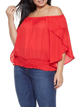 Plus Size Smocked Waist Off the Shoulder Top - 3802051064456