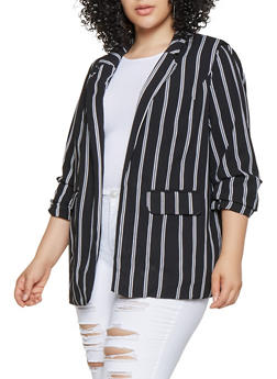 Plus Size Ruched Sleeve Striped Blazer - 3802051067160
