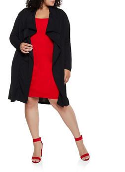 Plus Size Flyaway Crepe Knit Duster - 3802062121130