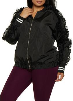 Plus Size Organza Ruffle Detail Jacket - 3802062121512