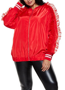 Plus Size Organza Ruffle Detail Jacket - 3802062121512