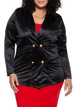 Plus Size Double Breasted Satin Blazer - 3802062122201