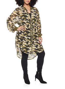 Plus Size Camo Lightweight Anorak Jacket - 3802062122562