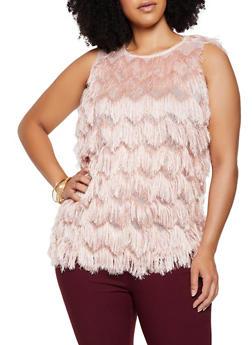 Plus Size Eyelash Fringe Top - 3802062123578