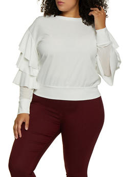 Plus Size Tiered Long Sleeve Crepe Knit Top - 3802062124243