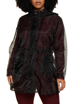 Plus Size Hooded Organza Anorak Jacket - 3802062127500
